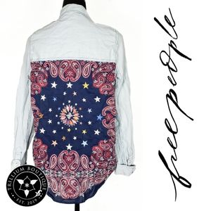 Free People Indigo Combo Button Down Top XS